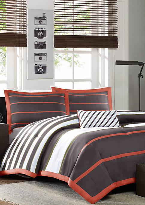 Ashton Orange and Gray Comforter Set
