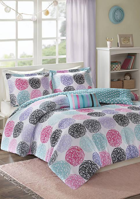 MiZone Carly Reversible Comforter Set Purple