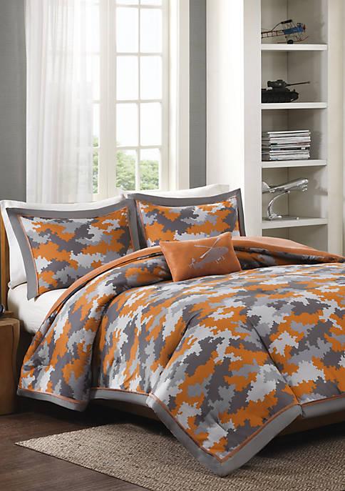 MiZone Lance Reversible Comforter Set Orange