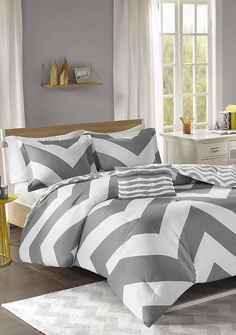 Libra Reversible Comforter Set Gray
