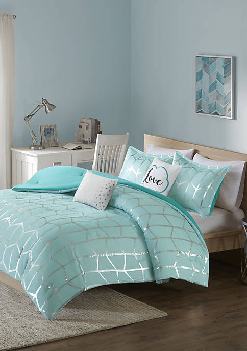 Intelligent Design Raina Aqua and Silver Comforter Set