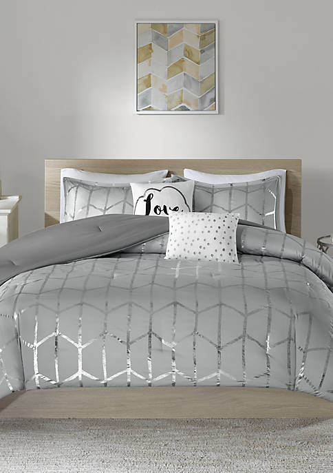 Intelligent Design Raina Gray and Silver Comforter Set