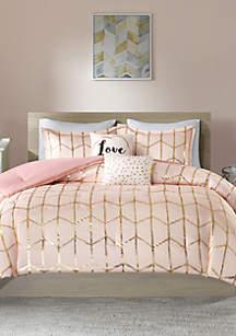 Intelligent Design Raina Blush and Gold Comforter Set