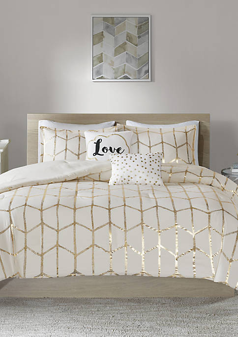 Intelligent Design Raina Ivory and Gold Comforter Set