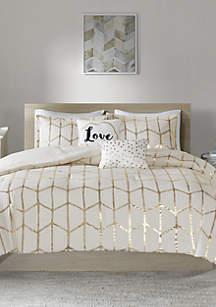 Intelligent Design Raina Ivory and Gold Comforter Set