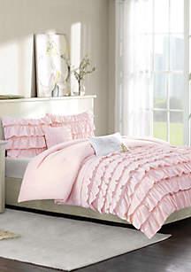 Intelligent Design Waterfall Comforter Set - Blush