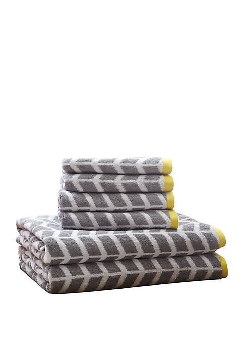 Intelligent Design Nadia 6 Piece Cotton Jacquard Towel