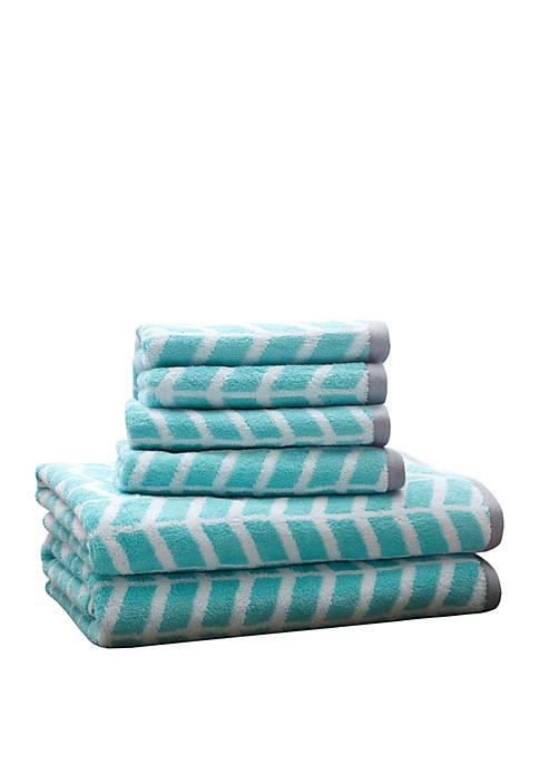 Intelligent Design Nadia 6 Piece Cotton Jacquard Towel