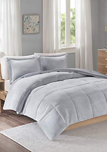 Intelligent Design Carson Reversible Frosted Print Plush to Heathered Micofiber Comforter Set