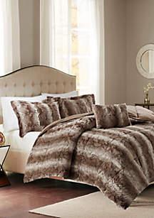 Madison Park Zuri 4 Piece Faux Fur Comforter Set