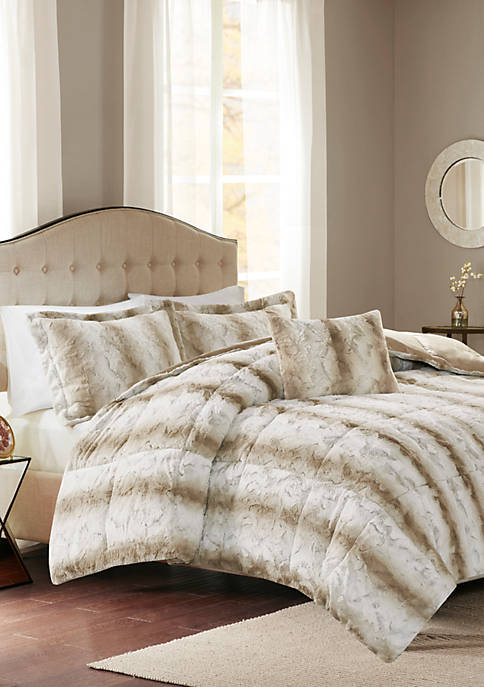Madison Park Zuri 4 Piece Faux Fur Comforter