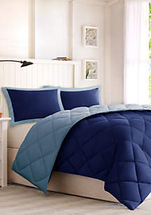 Madison Park Larkspur Scotchgard Diamond Quilting Reversible Down Alternative Comforter Set