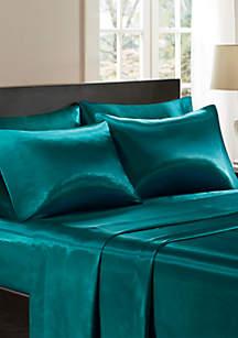 Madison Park Essentials Satin Wrinkle-Free Luxurious 6 Piece Sheet Set