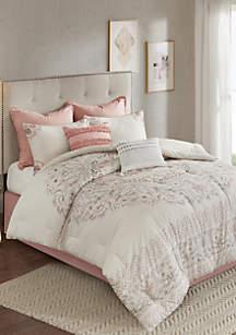 Madison Park Elise 8 Piece Cotton Printed Reversible Comforter Set