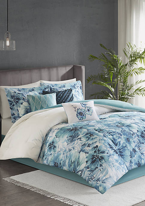 Madison Park Enza 7 Piece Cotton Printed Comforter