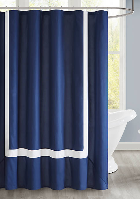 510 Design Carroll Pieced Border Shower Curtain with