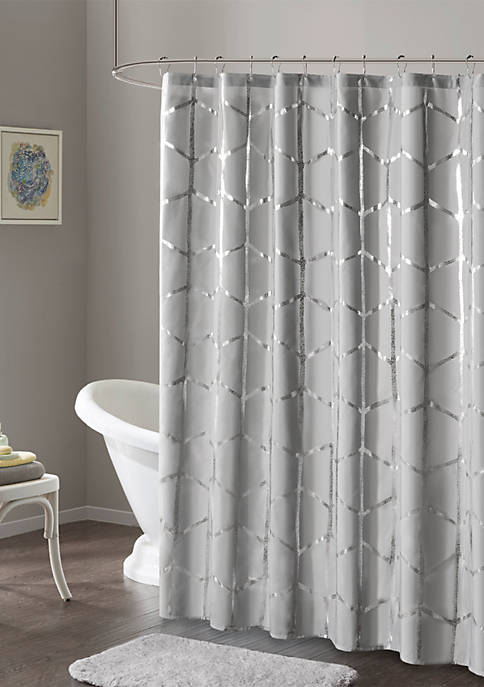 Intelligent Design Raina Printed Metallic Shower Curtain