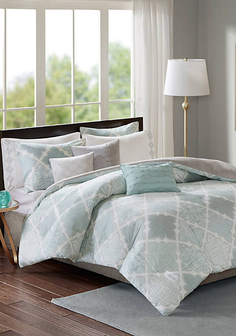 Cadence 8 Piece Cotton Sateen Duvet Cover Set
