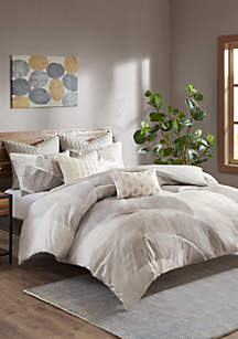 INK + IVY® Charlotte Cotton Twill Leaf Print Duvet Cover Mini Set