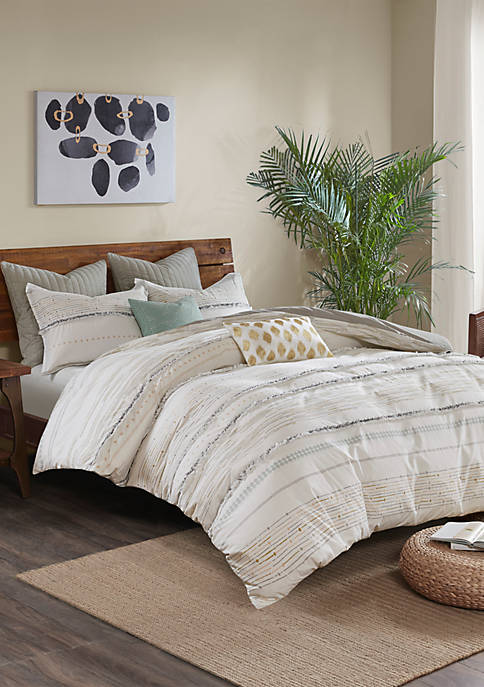 Nea 3 Piece Printed Duvet Cover Set with Trims