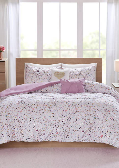 Intelligent Design Abby Metallic Printed and Pintucked Comforter