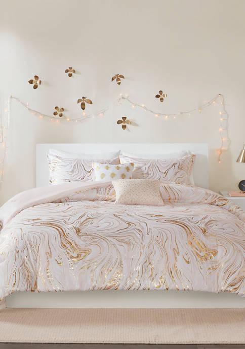 Intelligent Design 4 Piece Rebecca Metallic Printed Comforter
