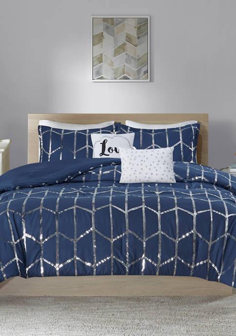 Intelligent Design Raina Metallic Printed Comforter Set