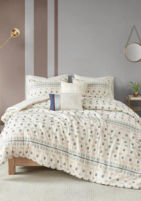 Auden 5 Piece Cotton Jacquard Duvet Cover Set