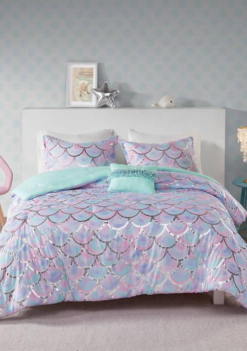 MiZone Pearl Metallic Printed Reversible Comforter Set