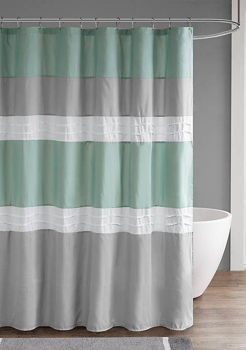 Tinsley Pieced and Pintucked Shower Curtain with Liner