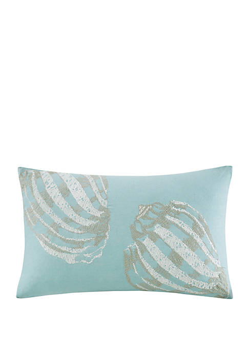Cannon Beach Embroidered Cotton Oblong Decorative Pillow