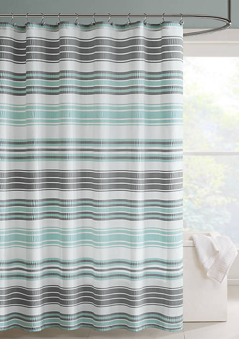 Intelligent Design Ana Puckering Stripe Shower Curtain