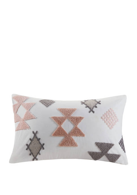 Zara Cotton Embroidered Oblong Pillow