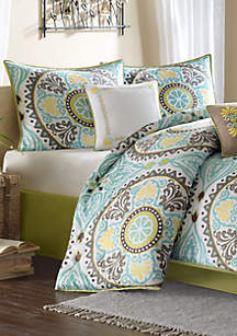 Samara Blue 7-Piece California King Comforter Set 104-in. x 92-in.