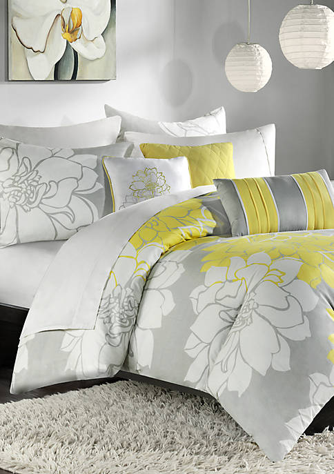 Lola Gray/Yellow 6-Piece Queen Duvet Set 90-in. x