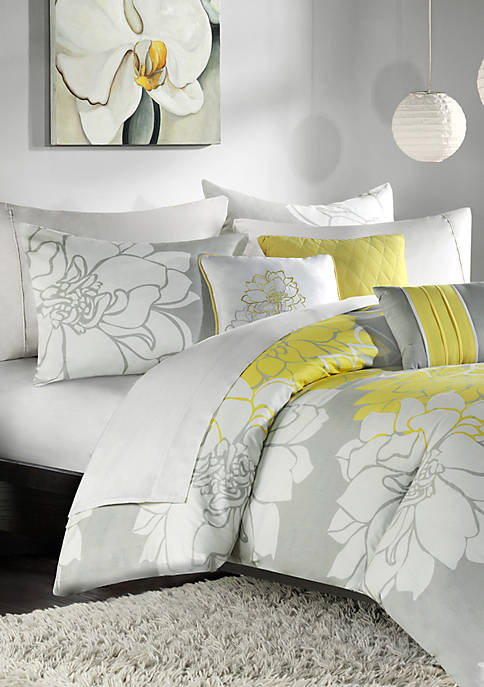 Lola Gray/Yellow 6-Piece King Duvet Set 104-in. x