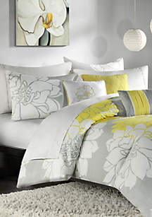 Lola Gray/Yellow 6-Piece King Duvet Set 104-in. x 92-in.