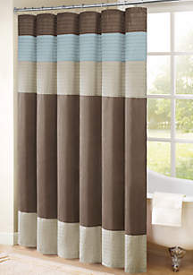 Trinity Pieced Faux Silk Shower Curtain - Online Only