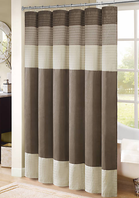 PIECED FAUX DUPIONI SHOWER CURTAIN WITH PLEATING DETAILS