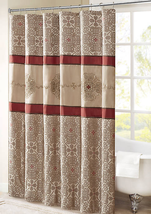 Madison Park Donovan Embroidered Shower Curtain