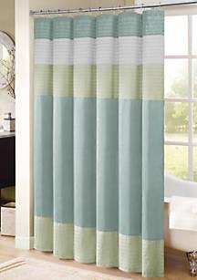 Carter Pieced Faux Silk Shower Curtain