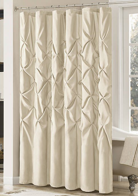 PIECED FAUX DUPIONI SHOWER CURTAIN WITH TUFTED DETAILS