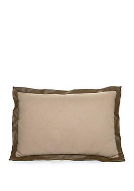 Avignon Faux Leather Trim Throw Pillow