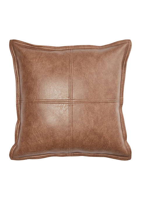 16 in x 16 in Hillside Faux Leather Decorative Pillow