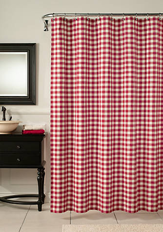 m.style Classic Check Barn Red Shower Curtain | belk