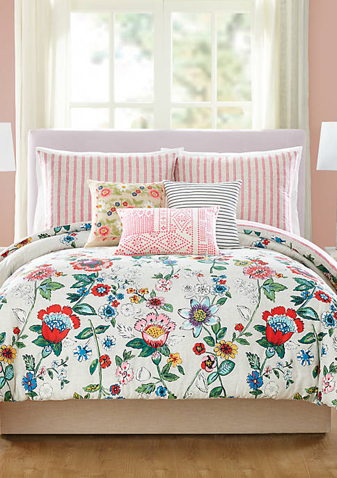 Coral Floral 2-Piece Comforter Set - Twin