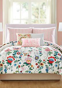 Coral Floral 2-Piece Comforter Set - Twin