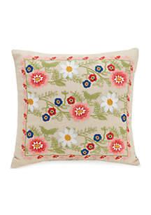 Coral Floral Decorative Pillow