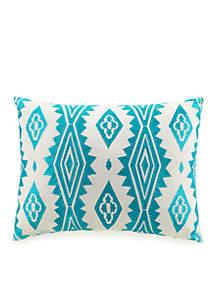 Aqua Floral Embellished Aztec Decorative Pillow