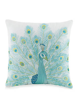 Aquarius Peacock Embellished Decorative Pillow